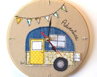 Wall clock caravan on embroidery hoop