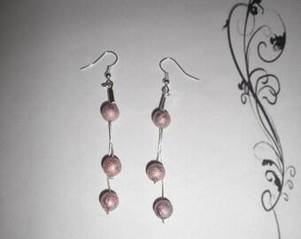 00662 - Serpentine earrings amazing pink beads