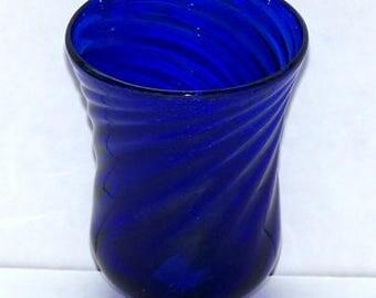Cobalt blue blown glass tumbler