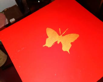 Red and Gold Keepsake Box Butterfly Detail