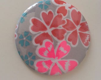 Beautiful 75 mm made of cotton floral Pocket mirror