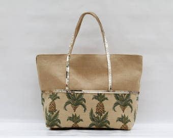 The linen Tote - Camel bi-color cotton and printed color pineapple with gold sequins