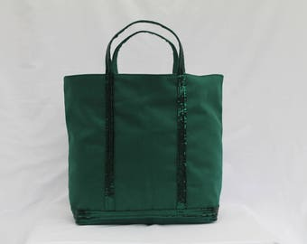 Tote bag in cotton forest green with forest green sequins
