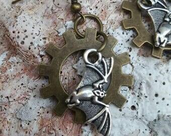 Steampunk Bat Earrings