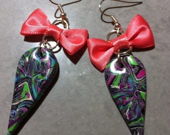 Pink earrings fimo drop satin bow