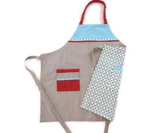 Tablier de cuisine recto-verso pour enfant / garçon ou fille (6-8 ans)