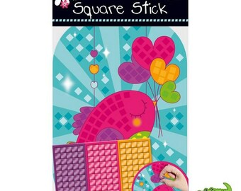 Set of mosaic adhesives for kids, collage, creation, decoration, heart, new