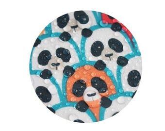 Spy Panda Mint Laminated Cotton fabric Oilcloth / Waterproof / BY HALF YARD / free shipping / tablecloth / pandas / cute animal ffL534+