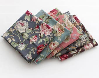 Big Rose Garden 100% Cotton Fabric / BY HALF YARD / grey roses floral flower / flowers pink mint brown / quilting / Ykfabrics H1/20+