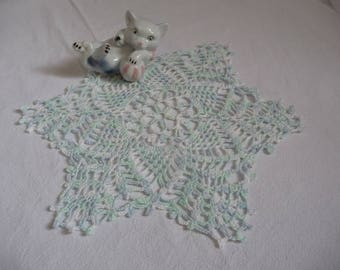 Small doily handmade ombre blue cotton
