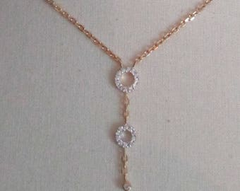 gold plated necklace and zirconium