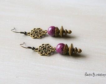 "Bohemian dangle earrings in plum jade ""Léoxane"""