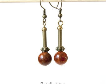 Earrings chocolate brown jade beads and brass tubes