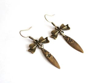 BOW earrings and drop printed bronze