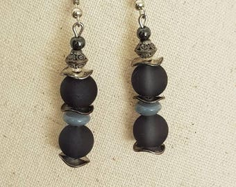 hook and bead earrings in silver - frosted glass bead