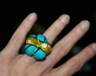 Ring fabric - HUMMINGBIRD Adjustable ring
