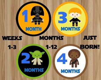 FLASH SALE!! Star Wars Monthly Stickers, Star Wars Baby Stickers, Star Wars Stickers, Star Wars Baby Outfit, Star Wars Baby, Digital File