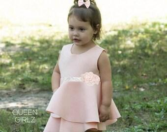 SALE blush pink flower girl dress, christening dress, vintage flower girl dress, blush shabby chic wedding, rustic flower girl dress, pink