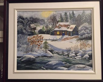 Winter landscape oil painting in the forest home