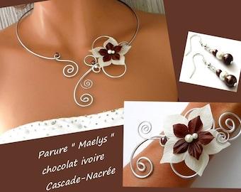 Bridal ivory chocolate m aluminium bead wedding silk flower jewelry set