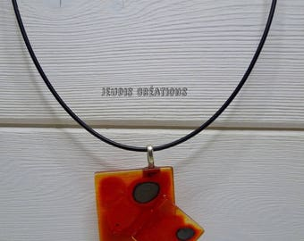 Orange color tones glass square pendant