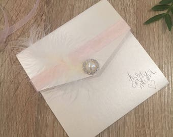 Handmade Pocketfold Wedding Invitations PearlFeatherPink