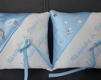 Sky blue cushion duo