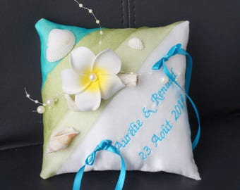 Lime turquoise themes Islands wedding ring cushion