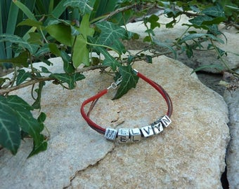 Bracelet Liberty suede red with name