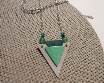 Silver necklace and green leather triangles