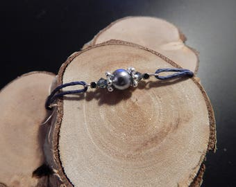 Navy Blue bracelet, cord and silver beads