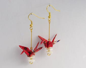Origami Japanese paper crane earrings.