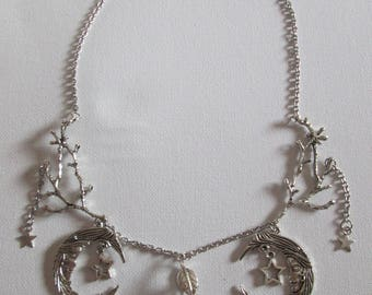 """My starry Moons"" bib necklace in silver"