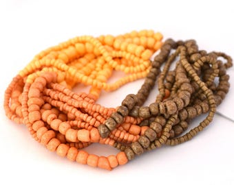 Assortment of yellow, orange, Brown waist beads 1.5 mm to 4 mm