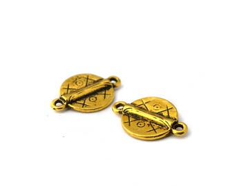 2 charms connectors-antique gold ethnic 21x14mm