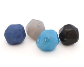 4 glass beads, blue and grey polygons 2cm in