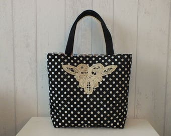 Reversible quilted bag, large polka dots and Black Lace