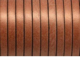 Leather 1st quality - 5x2.1mm - trendy metallic copper - 20 cm