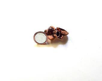Metal magnetic clasp - top - vintage (12x8.8mm) - 4mm - copper Passage