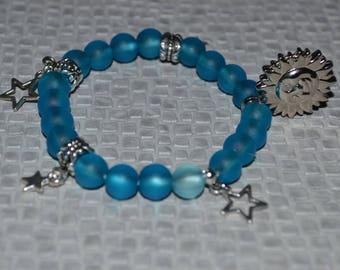 Elastic bracelet - acrylic beads - Turquoise & silver