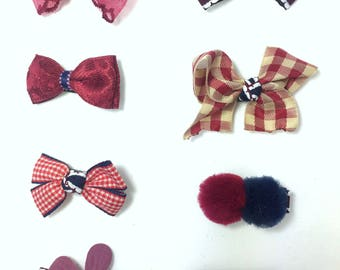 Set of 8 Baby Hair Clips,8 Infant Hair clips,8 Newborn Hair Clips,Tiny Bows, Hair Clip Set, Baby Clip Set, cute Hair clip set,Red clip set