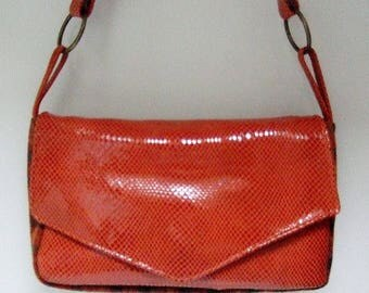Bag orange patent leather and wool plaid fabric