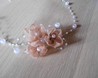Wedding, flowers and pearls headband
