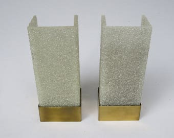 1 pair wall lamps, 60s, granules-shades, brass