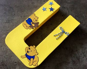 paper mache 20.5 cm letters personalized - baby bear theme