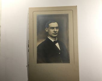 """Antique photo, 6 x 9"""", young man in bow tie"""
