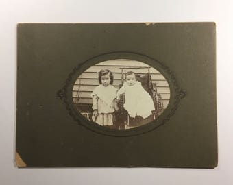 Antique cabinet card type photograph, two young children. Early 1900s