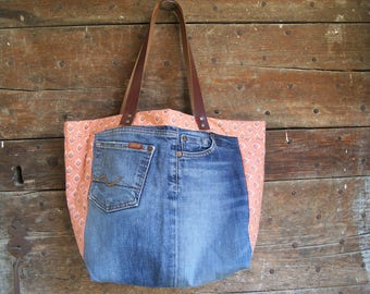 Jean and provencal cotton tote bag