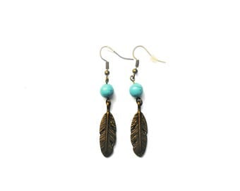 Dangle earrings turquoise bead and metal feather