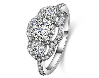 Three-Stone CZ Sterling Silver Engagment Wedding Ring Women Size 4-11 Ss11880